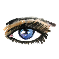 Watercolor hand drawn eye. Make up.