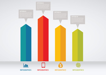 info graphics - colorful graph, square pillar