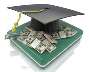 graduation cap on US money - education costs