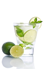 drink with ice mint and lime. Isolated on white background