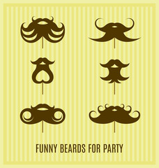 Funny beard masks for your party. Vector illustration.