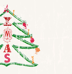 christmas illustration, grungy style, free copy space