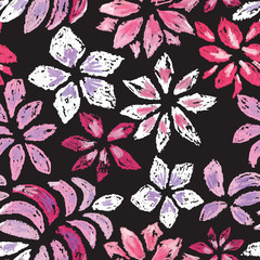 Hand drawn flower seamless pattern.