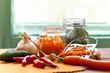 preparation of organic vegetables in jars