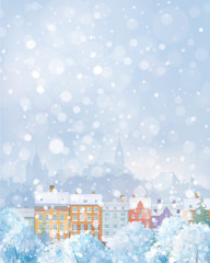 Vector winter cityscape.
