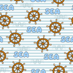 Vector seamless pattern on the theme of the sea