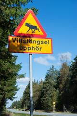 Elch Verkehrszeichen in Schweden
