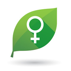 leaf icon with a female sign