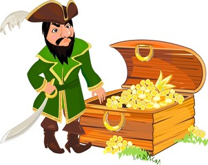 Pirate and chest of gold