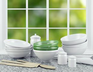 White ceramic kitchenware.