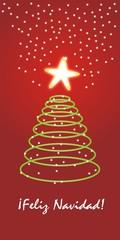 Feliz Navidad - pino neón con fondo rojo y estrellitas