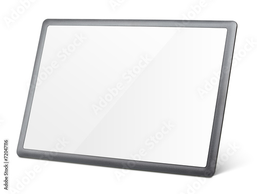 Modern black tablet pc isolated on white with clipping path - 72047116