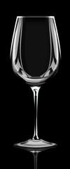 Weinglas hochglanz auf schwarzen Hintergrund, freigestellt