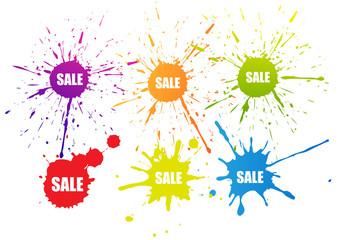 Sale splatter color tag symbol