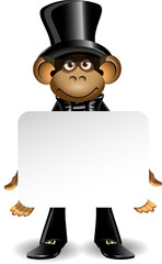 monkey in a top hat with white background