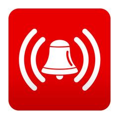 Etiqueta tipo app roja campana de alarma