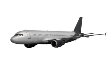 plane with dark tail isolated on white