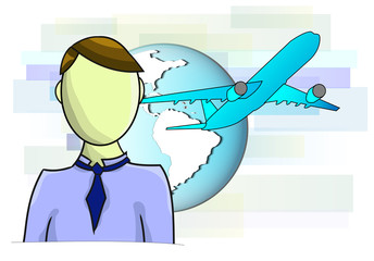 Illustrations of business man with airplane and globe