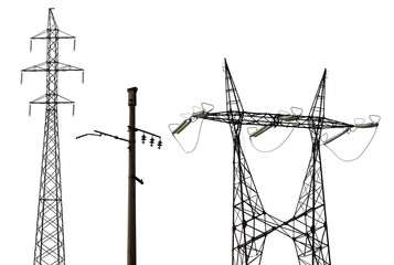 collection of three electrical pylons on white