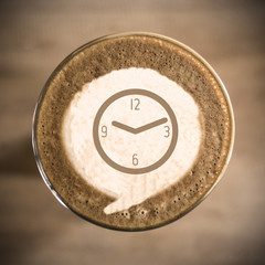 Time concept on Coffee latte art morning everyday