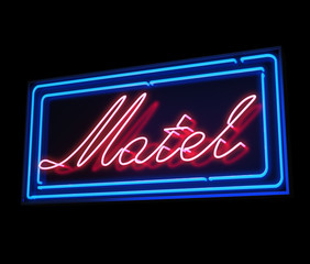 Motel neon sign illuminated over dark background