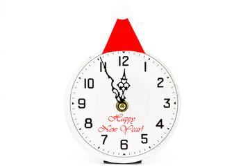 Santa Claus Hat on Retro Clock showing twelf