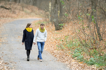 The girl and the guy walk on the autumn wood