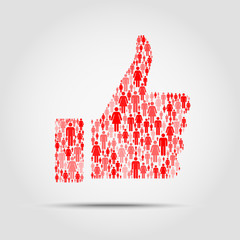 thumb up made out of people icons