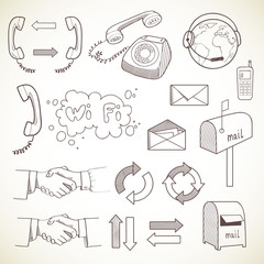 Set of communication icons, isolated on light background.