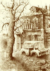 "Ink drawing ""Old House"""