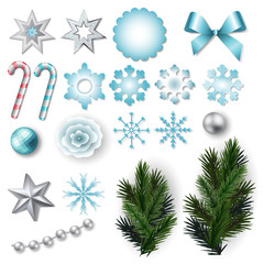 Set of elements for Christmas and New Year design