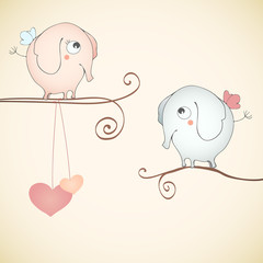 Funny elephants falling in love.