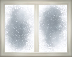 Window frame  on snow background.