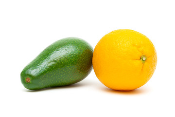 avocado and orange isolated on white background