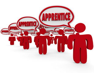 Apprentice Word in Speech Bubbles Trainee Workers Learning Skill
