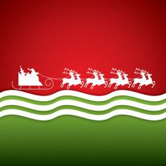 Santa Claus rides in a reindeer sleigh
