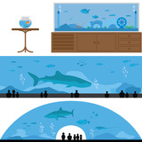 Set of Fish Tank and Aquarium Landscape