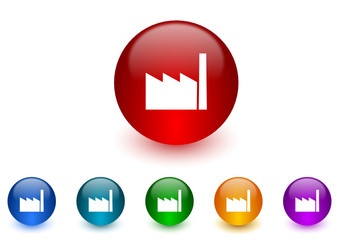 factory colorful vector icons set