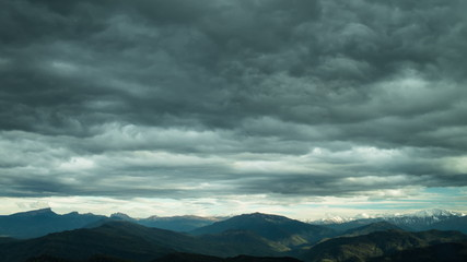 mountain with stormy clouds in north caucasus