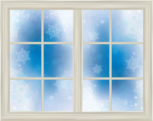Vector window frame  on snowy background.