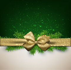 Christmas background with golden bow.