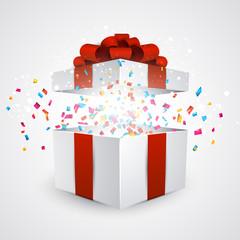 Gift box with confetti.
