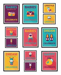 Baby poster flat banner design flat background set, eps10