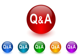 question answer colorful vector icons set