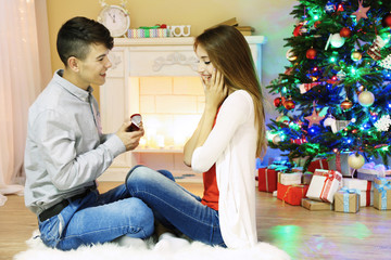 Young couple sitting