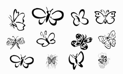 Planche papillons Stickers, tatouages noir et blanc