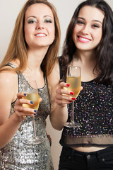 Party girls with champagne