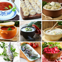 collage menu of Russian and Ukrainian food