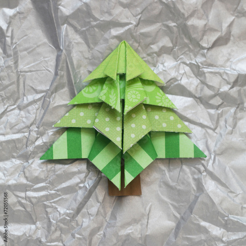 canvas print picture Origami Christmas Tree