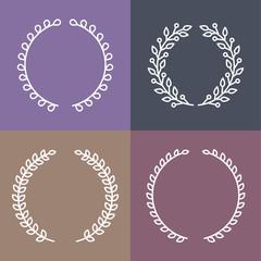 Vector set of laurel wreaths in outline style